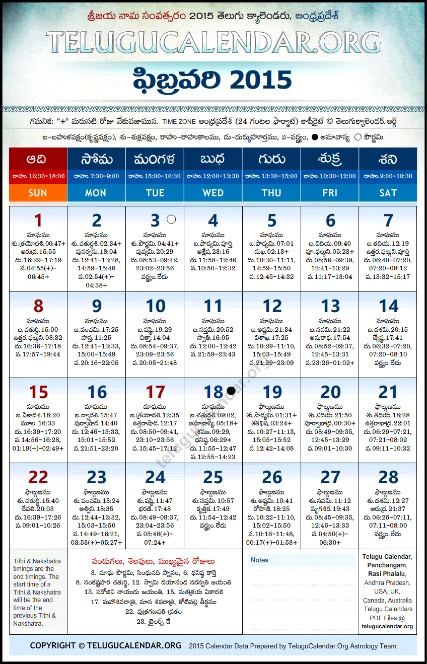 Telugu Calendar February 2015