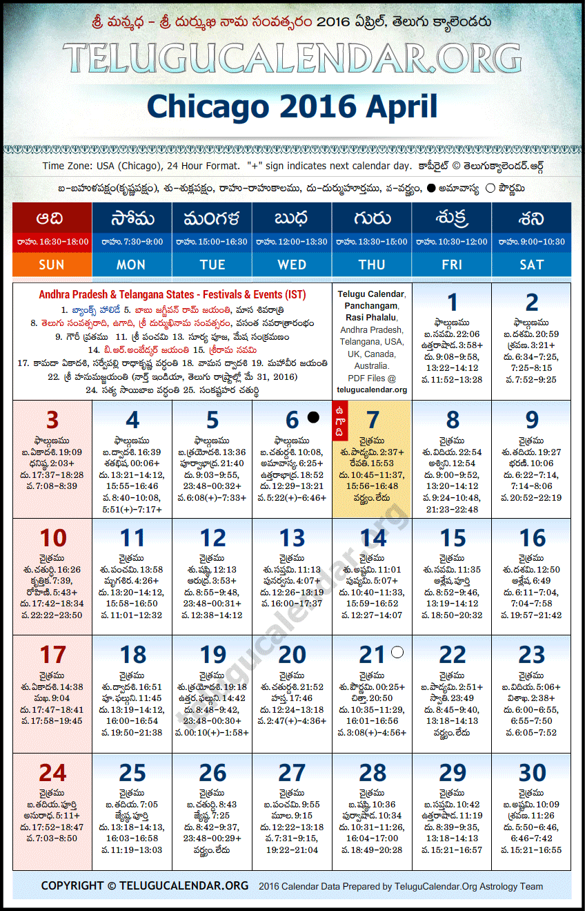 Chicago   Telugu Calendars 2016 April