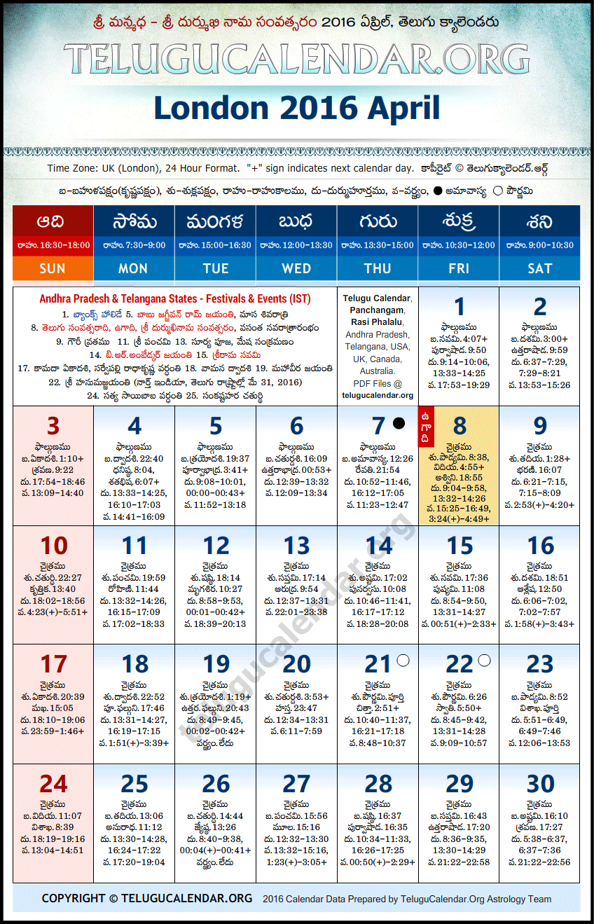 April Calendar London : London telugu calendars april