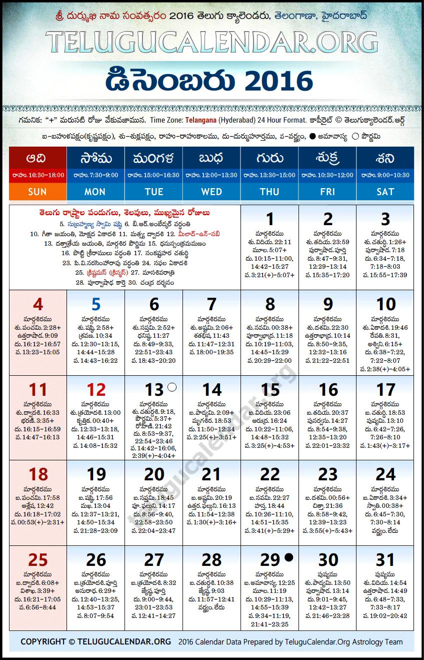 Telugu Calendar 2016 December,