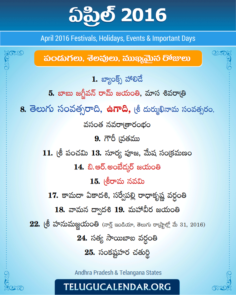 April 2016 Telugu Festivals, Holidays & Events | Telugu Pandugalu
