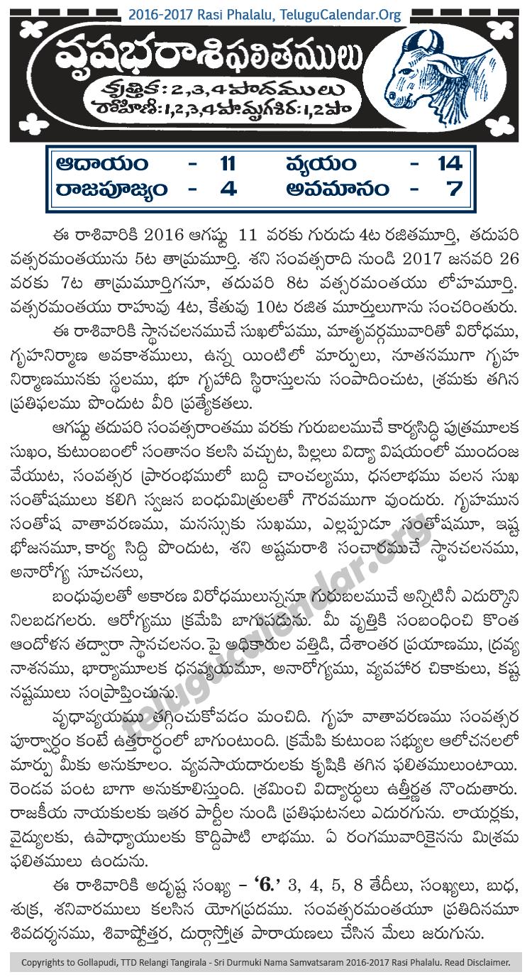 Vrushaba (Taurus) Rasi Phalalu 2016-2017 Yearly Predictions in Telugu