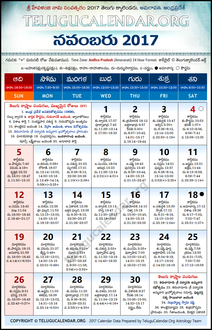Andhra Pradesh | Telugu Calendars 2017 November