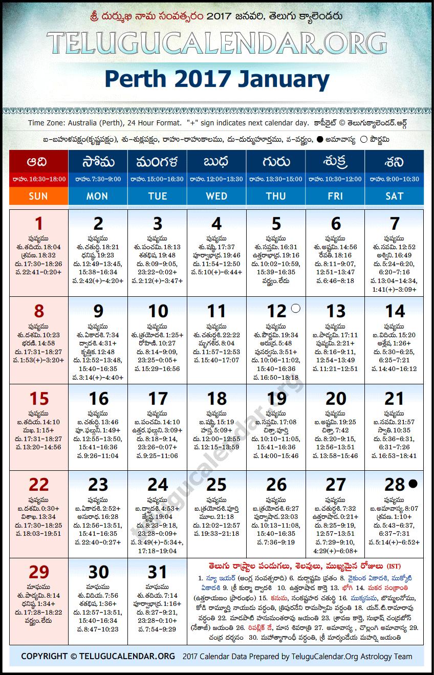 Calendar dates in Perth