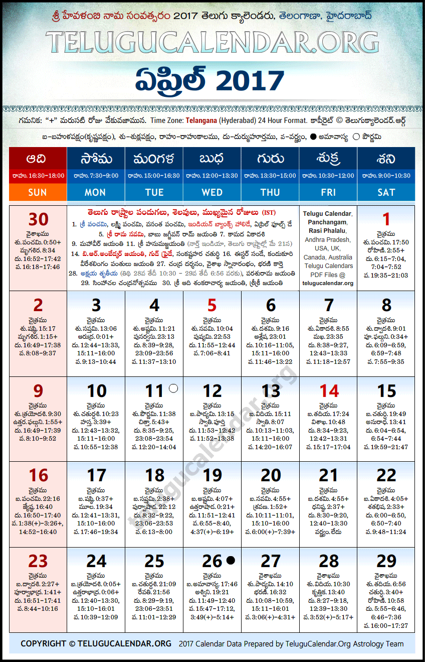 Telangana | Telugu Calendars 2017 April
