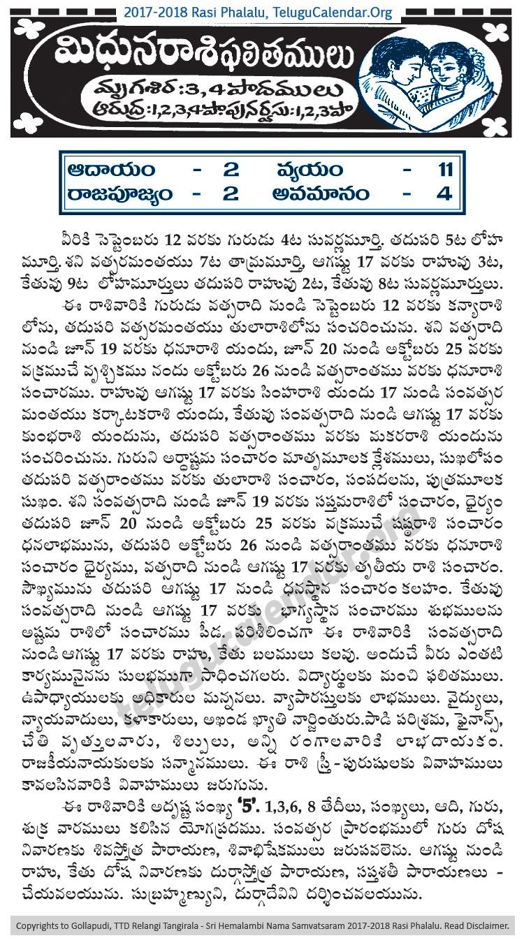 Try These Midhunam Rasi Palan 2018 Telugu {Mahindra Racing}
