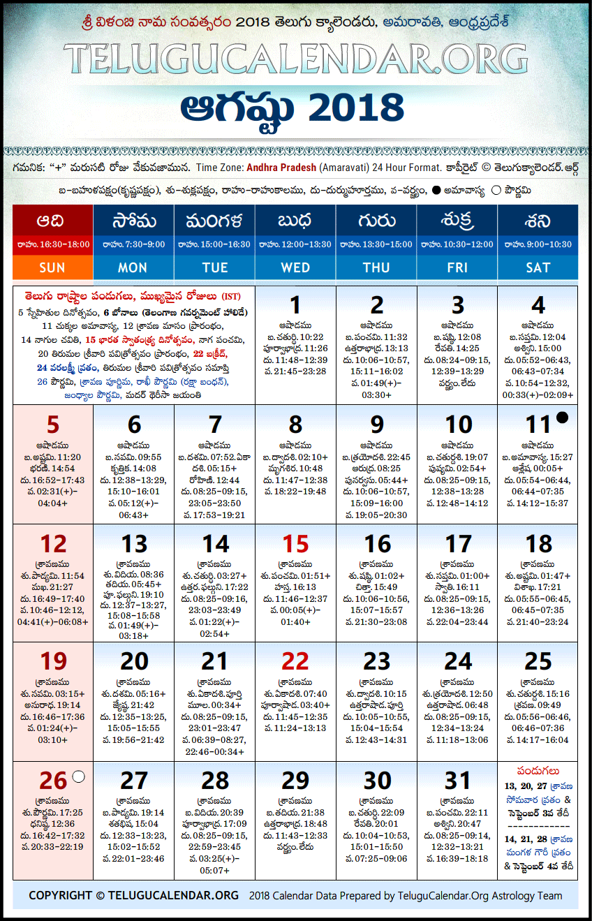 Calendar 2018 Telugu April
