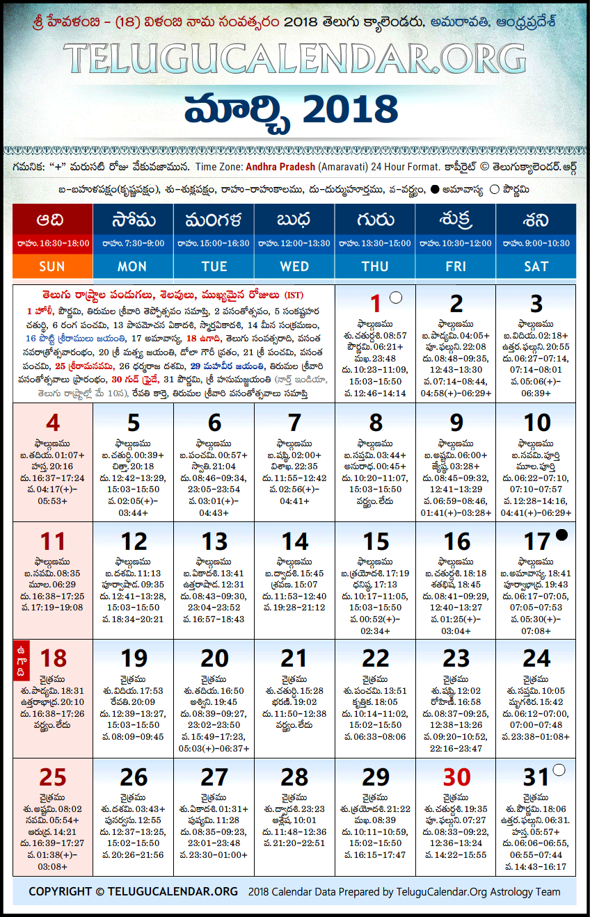 Andhra Pradesh | Telugu Calendars 2018 March