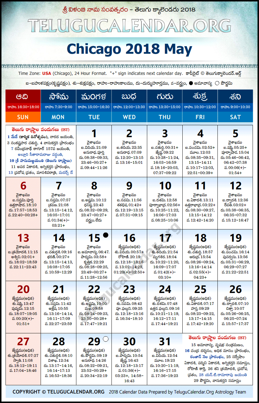 Chicago | Telugu Calendars 2018 May
