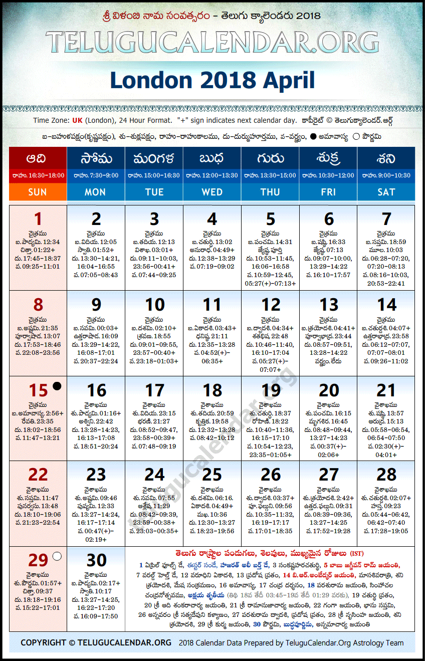 Telugu Calendar 2018 April, London