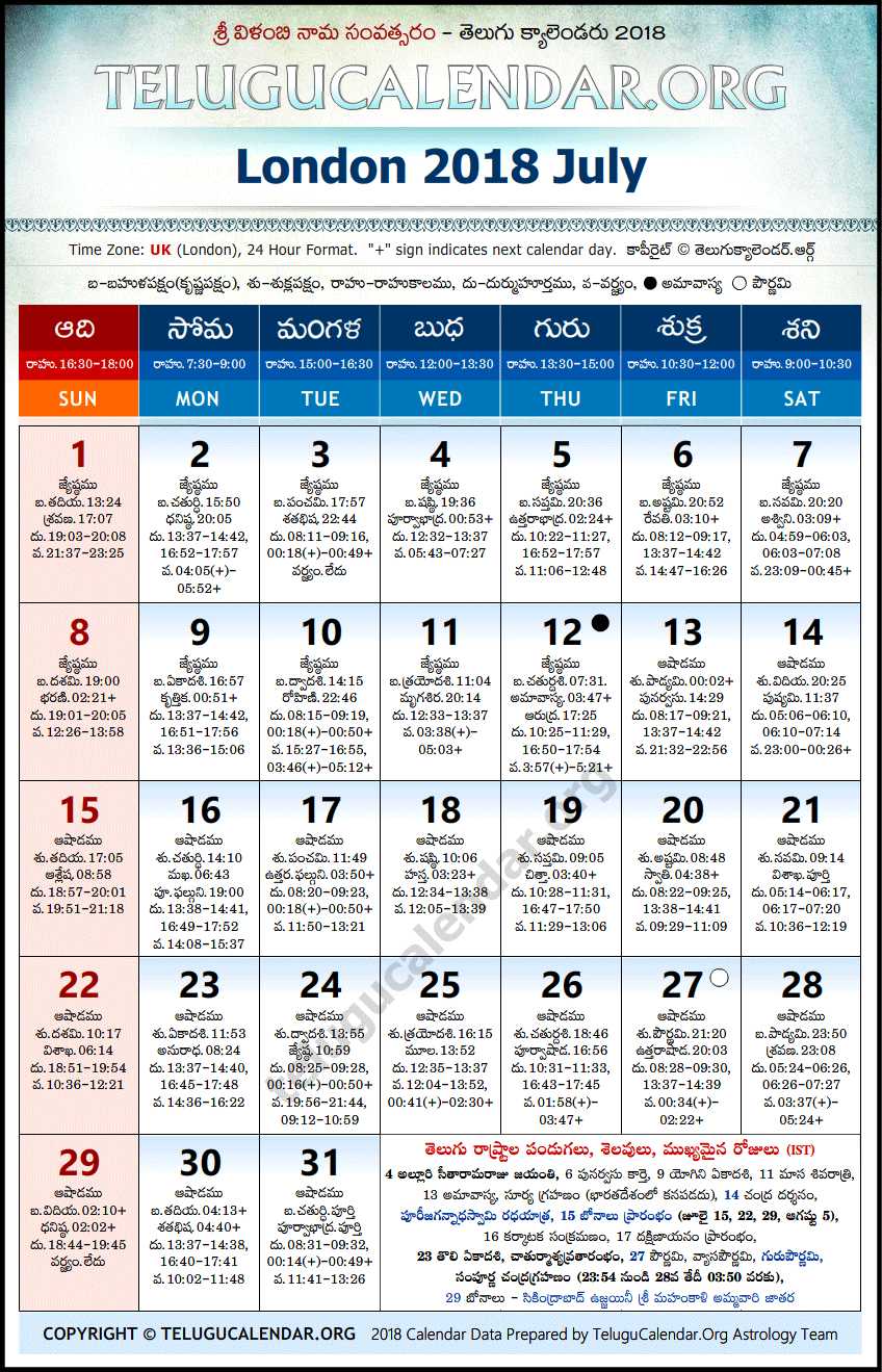 Telugu Calendar 2018 July, London