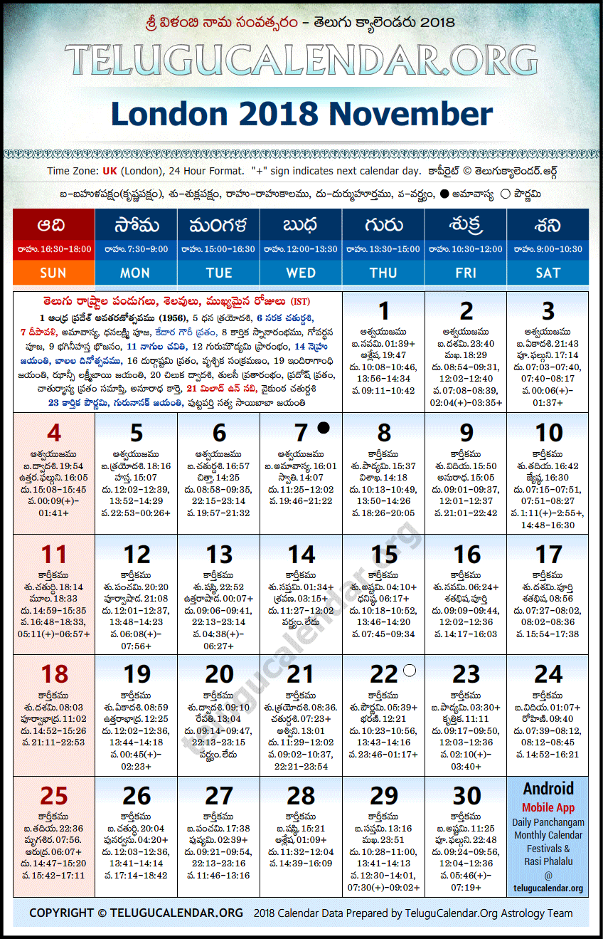 Telugu Calendar 2018 November, London