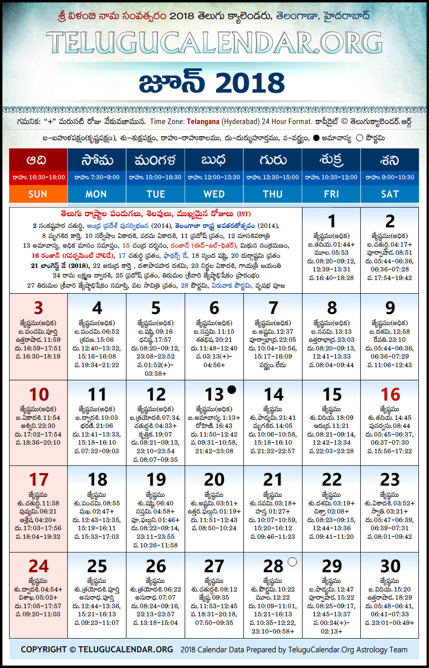 Telangana | Telugu Calendars 2018 June