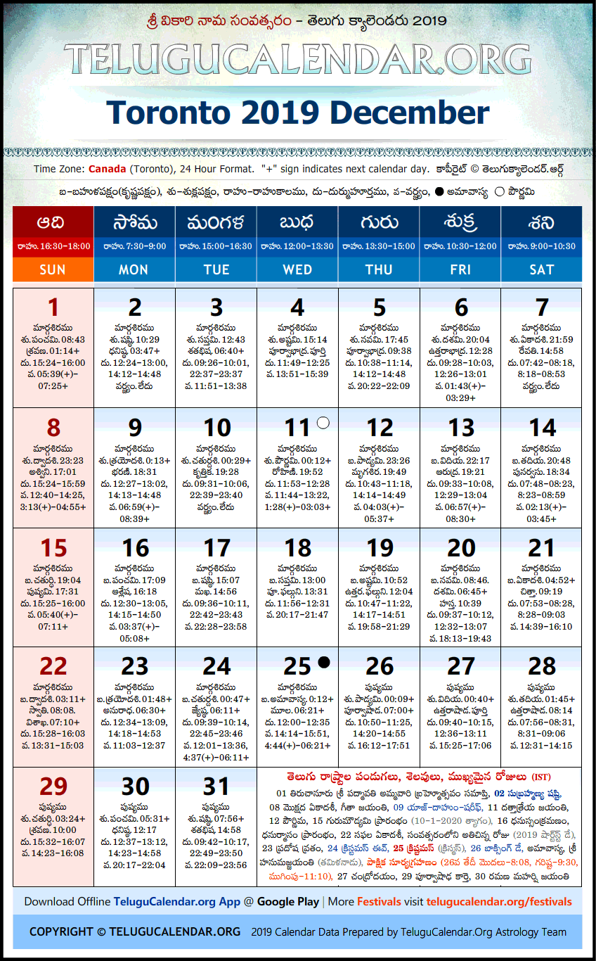 December 2020 Calendar Telugu Toronto | Telugu Calendars 2019 December Festivals PDF