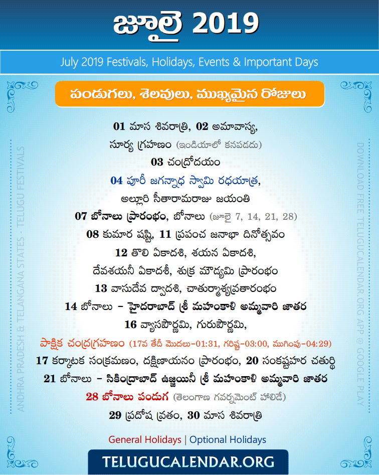 July 2019 Telugu Festivals, Holidays & Events | Telugu Pandugalu