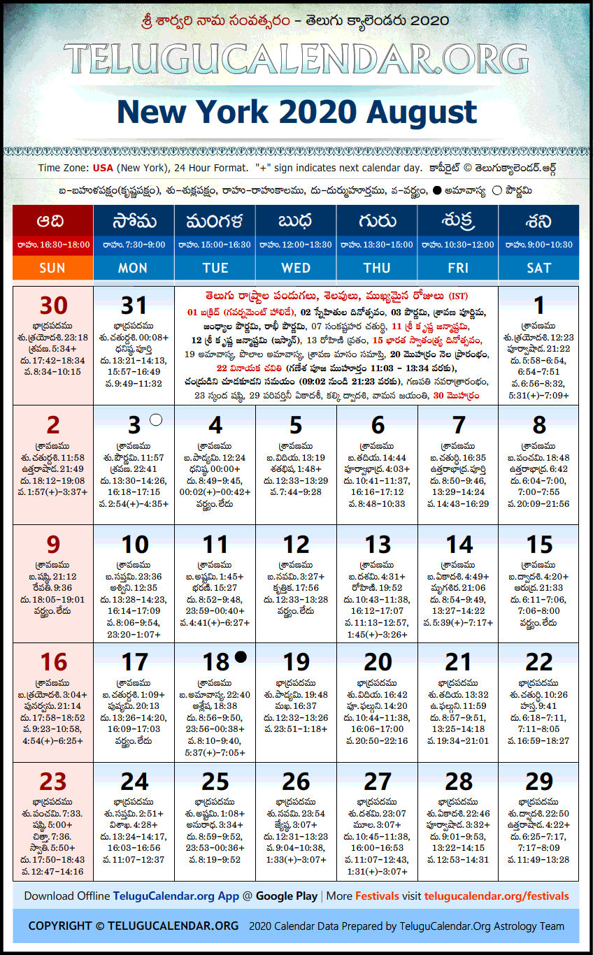 Telugu Calendar 2020 August, New York